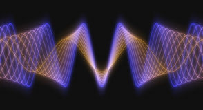 Rendered 3D Wave Forms. Multi-Colored 3D Rendered Audio Waveforms on a Black Background Royalty Free Stock Photos