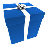 Rendered Blue Present with White Bow Royalty Free Stock Photography