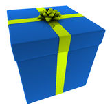 Rendered Blue Present with Yellow Bow Royalty Free Stock Image