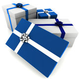 Rendered Blue and White Presents Stock Photos
