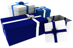 Rendered Blue and White Presents with Open Box Stock Photo