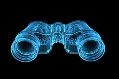 Rendered blue xray transparent binoculars. 3D rendered blue xray transparent binoculars Stock Image