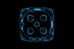 Rendered blue xray transparent casino dice Royalty Free Stock Image