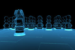 Rendered blue xray transparent chess Royalty Free Stock Photography