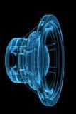Rendered blue xray transparent loudspeaker Royalty Free Stock Image