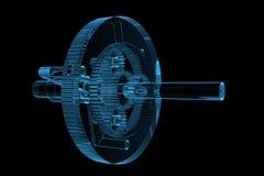 Rendered blue xray transparent planetary gear stock illustration