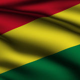 Rendered Bolivian Square Flag. Rendering of a waving flag of Bolivia with accurate colors and design and a fabric texture in a square format Royalty Free Stock Photos
