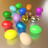 Rendered colorful eggs. Group of the rendered colorful eggs on a shiny table Royalty Free Stock Image