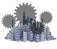 Rendered 3d city skyline with teamwork gears Stock Photography