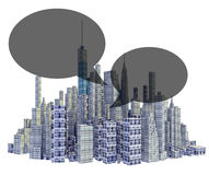 Rendered 3d city skyline with text balloons Royalty Free Stock Images