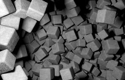 Rendered 3D Cubes Randomly Distributed in Space, Concrete Texture Used Royalty Free Stock Image