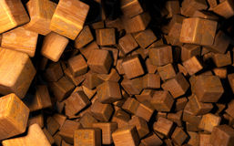 Rendered 3D Cubes Randomly Distributed in Space, Wooden Texture Used Royalty Free Stock Photos