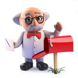 3d crazy mad professor scientist takes mail from his mail box royalty free illustration