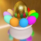 Rendered easter decoration. Colorful easter eggs on the white bowl Stock Photography