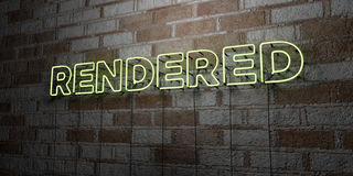 RENDERED - Glowing Neon Sign on stonework wall - 3D rendered royalty free stock illustration Royalty Free Stock Photo