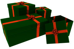 Rendered Green and Red Presents With Open Box Royalty Free Stock Photos