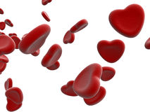 Rendered heart blood cells Royalty Free Stock Images