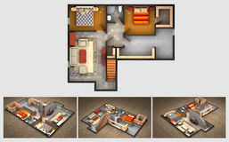 Rendered house plan and three isometric section views Stock Photography