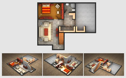 Rendered house plan and three isometric section views Stock Photos