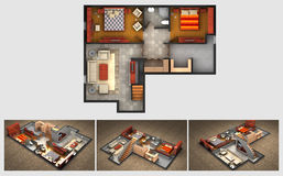Rendered house plan and three isometric section views Stock Photo