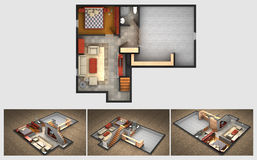 Rendered house plan and three isometric section views Royalty Free Stock Photos