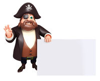 Rendered illustration of pirate with white board Royalty Free Stock Photography