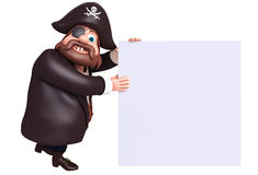 Rendered illustration of pirate with white board Stock Image