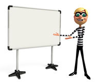 Rendered illustration of slim Thief with white board Stock Images