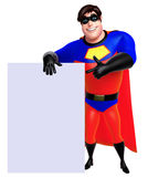 Rendered illustration of superhero with white board Royalty Free Stock Photos