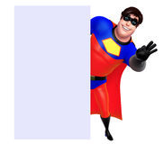 Rendered illustration of superhero with white board Royalty Free Stock Photography