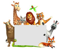 Rendered illustration of wild animal with white board Royalty Free Stock Photography