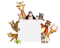 Rendered illustration of wild animal with white board Royalty Free Stock Image