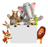 Rendered illustration of wild animal with white board Royalty Free Stock Photos