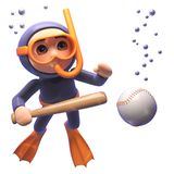 Cartoon scuba snorkel diver with baseball bat and ball, 3d illustration royalty free illustration
