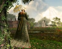 Jane Austen style woman strolling countryside. Rendered image of an elegant Jane Austen style woman strolling the countryside, Regency dress Royalty Free Stock Images
