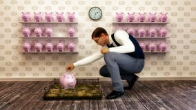 Rendered Image, man saving his money with piggy banks vector illustration