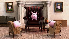 Rendered Image, rich piggy bank character royalty free illustration