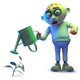 Silly undead zombie monster watering his undead plant, 3d illustration. Rendered image of a silly undead zombie monster watering his undead plant, 3d vector illustration