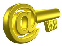 Rendered image of stylized gold key. 3D rendered image of stylized gold key with internet signs Stock Image
