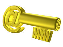 Rendered image of stylized gold key. 3D rendered image of stylized gold key with internet signs Royalty Free Stock Photos