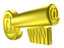 Rendered image of stylized gold key. 3D rendered image of stylized gold key with internet signs Stock Images