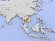 Rendered map of Cambodia. Stock Image