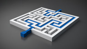 Rendered maze with solution. Rendered maze with a solution Royalty Free Stock Image