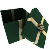 Rendered Open Green Present with Gold Bow Royalty Free Stock Photography