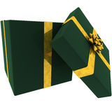 Rendered Open Green Present with Golden Bow Stock Photography