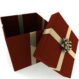 Rendered Open Red Present with Gold Bow Royalty Free Stock Image