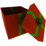 Rendered Open Red Present with Green Bow Stock Image