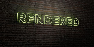 RENDERED -Realistic Neon Sign on Brick Wall background - 3D rendered royalty free stock image Stock Photo