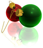Rendered Red and Green Ornaments Royalty Free Stock Photos
