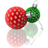 Rendered Red and Green Snowflake Ornaments Royalty Free Stock Photos